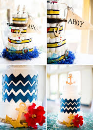 sailor baby shower cake ahoy flag blue waves gold anchor the