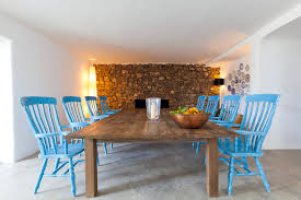 blue ikat chair dining room mediterranean with large wooden dining
