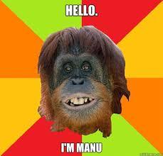 Manu Meme - hello i m manu culturally oblivious orangutan quickmeme