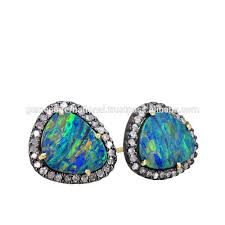 tourmaline opal 14k gold dangle earrings diamond pave slice pink tourmaline