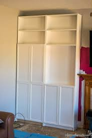 Wall Bookcases With Doors Family Room Makeover Part 1 Installing Ikea Billy Bookcases