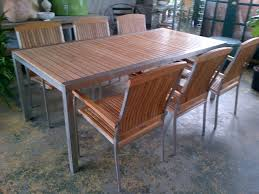 Teak Dining Room Set by Teak Dining Table With Stainless Steel Frame Mecox Gardens