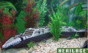 heritage aquarium fish tank titanic ship boat wreck handpainted