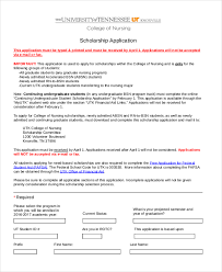 sample scholarship forms