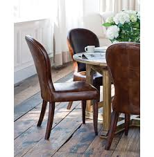 bunyan rustic lodge brown leather upholstered dining chair kathy