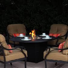 nassau 4 person cast aluminum patio conversation set with fire pit