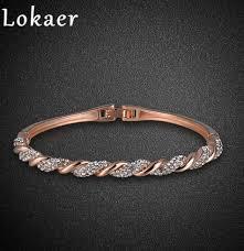 rhinestone bangles bracelet images N lokaer trendy rose gold color pave setting rhinestone spiral jpg
