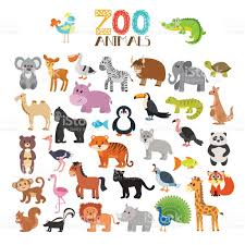 vector collection of zoo animals set of cute cartoon animals stock