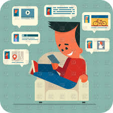 Cartoon Armchair Cartoon Young Man Sitting In A Armchair And Chatting Online With