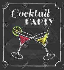 retro cocktail party vintage cocktail party poster chalkboard style royalty free