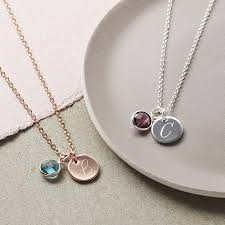 Necklace With Initials Personalised Initial Birthstone Necklace