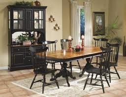 country dining room sets country style pedestal dining table set in pine and black