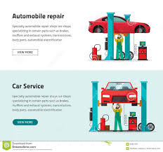 Workshop Garage by Car Repair Shop Station Vector Banner Repairman Working Workshop