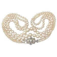 pearl bracelet clasps images Double strand pearl necklace with 0 55ct diamond white gold clasp jpg