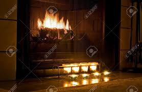candles in fireplace resin tealight fireplace log candle holder fireplace with candles burning in front stock photo