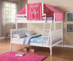 Amazoncom Twin Over Full Mission Bunk Bed With Tent Kit In White - Pink bunk beds for kids