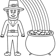 leprechaun in rainbow and pot of gold coloring pages coloringstar