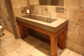 bathroom bathroom two tones wood concrete trough sink combined