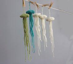 jellyfish ornament amigurumi crochet ornament sale set by lazymuse