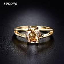 s day birthstone rings budong s day gift women gold color rings with yellow