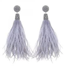 suzanna dai earrings feather tassel earrings light grey suzanna dai jewelry