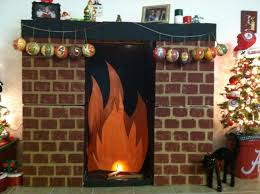 a fireplace made from painted cardboard boxes for christmas