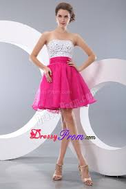 pink and white a line beading short prom homecoming dress