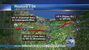 Illinois Road Construction Map by Major Construction Along I 94 Corridor Begins In May Abc7chicago Com