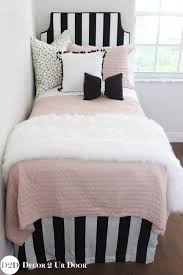 Girls Pink And Black Bedding by Blush Black Gold Fur Designer Teen Bedding Set