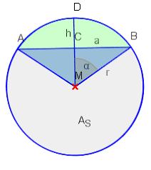 fläche kreis formel kreisabschnitt der kreis planimetrie elementargeometrie geometrie