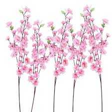 artificial flower 6pcs artificial cherry plum blossom branch silk