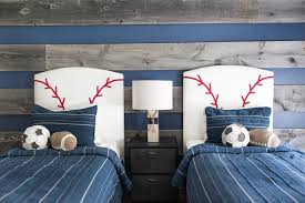 themed headboards blue and gray boys bedroom with baseball headboards transitional