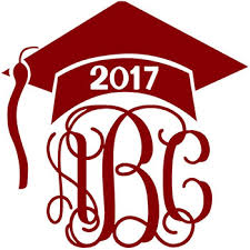 monogram graduation cap graduation cap monogram decal with vine font colors