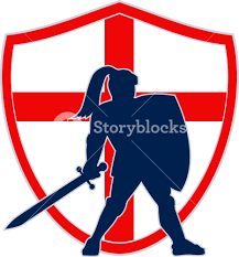England Flag Jpg English Knight Silhouette England Flag Retro Royalty Free Stock