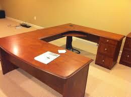 U Shaped Desks Realspace Broadstreet Contoured U Shaped Desk With Hutch Best