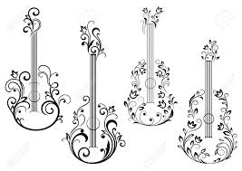 abstract acoustic guitar icons with floral ornament in the form