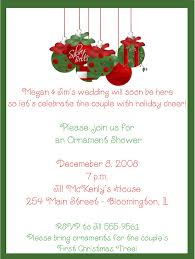 Bridal Shower Greeting Wording And Green Christmas Ornaments Bridal Shower Invitations