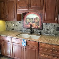 kitchen backsplash medallion faux stone panels traditional