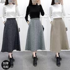 lange rok tingyili winter maxi rok kaki grijs wollen vrouwen rok hoge taille