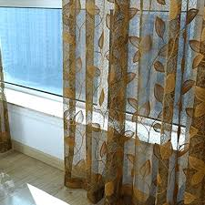 Patterned Sheer Curtains Sheer Printed Curtains Embroidery Gold Leaves Pattern Sheer