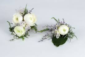 corsage and boutonniere set white ranunculus corsage and boutonniere set