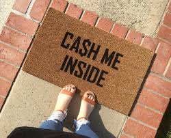 Funny Doormat by Cash Me Inside Doormat Cash Me Outside Hand Painted