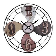 Roman Home Decor Industrial Style Vintage Metal Large Round Wall Clock Time Fan