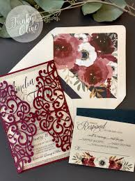 Wedding Invitation Bundles Burgundy Navy U0026 Gold Laser Cut Wedding Invitation Package