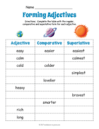 planets adjective forms worksheet