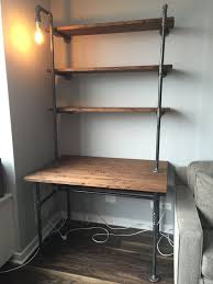 pipe desk with shelves industrial pipe desk with shelving unit and built in l