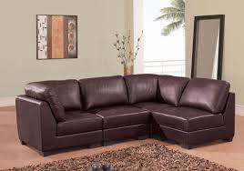 Brown Sectional Sofa With Chaise Brown Leather 4 Pc Modern Sectional Sofa W Tufted Seats
