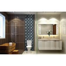 Bathroom Glass Tile Designs Glass Tile Backsplash Black Stainless Steel With Base Meta Mosaic