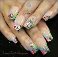 rainbow confetti acrylic nails www sbbb info
