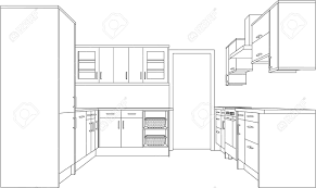 perspective cuisine a 3d single point perspective line drawing of a fitted kitchen